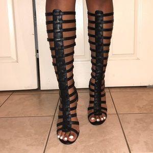 Black Gladiator Heel Sandals.